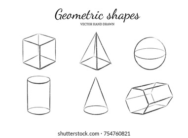 Geometric shapes set. Vector hand drawn illustration. Isolated objects. Cube, Pyramid, Cylinder Cone Prism Sphere