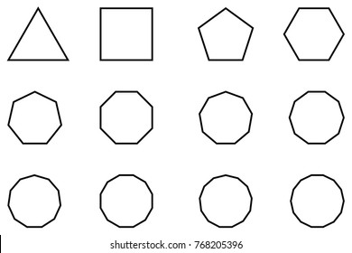 Geometric shapes set vector, Polygon - vector set - black on white background,