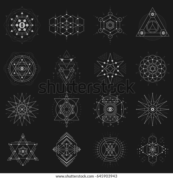 Geometric Shapes Symbolic Proportion Sacred Meanings Stock Vector