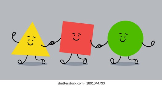 Geometric shapes triangle, square and circle walk together. Cheerful figures in flat cartoon style. Vector illustration.