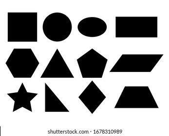 Geometric shapes vector icon isolated on white