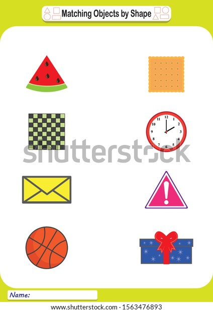 Geometric Shapes Worksheet Kids Learn Shapes Stock Vector (Royalty Free)  1563476893
