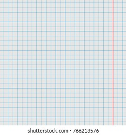 Geometric sheet of a notebook in a box with a red strip of retro style