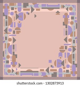 Geometric silk scarf pattern. Hijab style