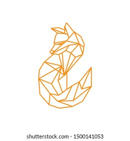 geometric simple fox logo design template