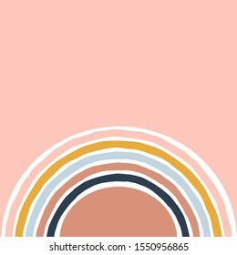 Geometric simple illustration with colourful stripy rainbow. Abstract multicolour retro arc bow on neutral pink background. Flat vector design.