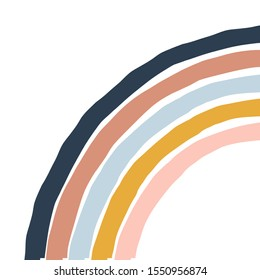 Geometric simple illustration with colourful stripy rainbow. Abstract multicolour retro arc bow isolated on white background. Flat vector design.