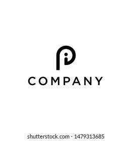 geometric simple initial PI vector logo design