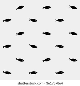 Geometric simple monochrome minimalistic vector marine pattern, fish