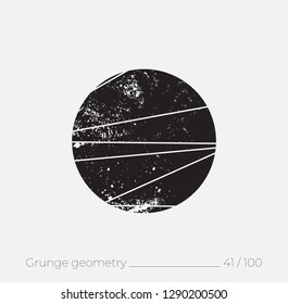 Geometric simple shape in grunge retro style. Universal design element for T-shirt, Posters, Magazine, sale leaflet, billboard, branding
