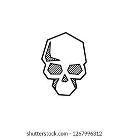 Geometric skull. Sketch for tattoo. Icon