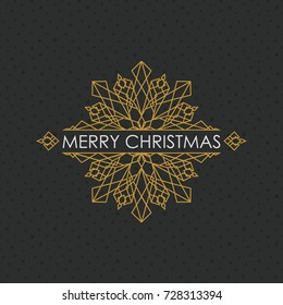 Geometric snowflake with text - Merry Christmas , vector