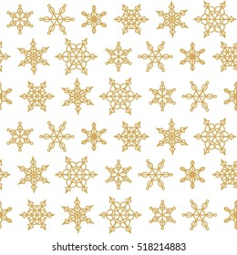 Geometric snowflakes pattern. Polygonal shapes wallpaper. Vector abstract christmas snow flakes seamless background.