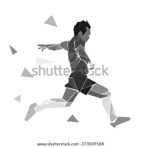 geometric soccer football player vector illustration stock vector