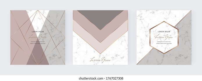 Geometric social media banners with nude, grey triangles shapes and gold lines on the marble texture. Template for card, flyer, invitation