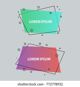 Geometric speech bubbles,banners,stickers,flat style. Ribbon banner, price tag, badge, poster. Vector set
