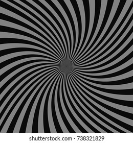 Geometric spiral background - vector illustration from grey twisted rays