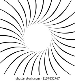 Geometric spiral element series. Abstract swirl, twirl graphics with rotating radial lines