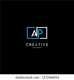 geometric square ap logo letter design concept in blue and white colors
