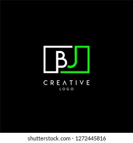 geometric square bj logo letter design concept in green and white colors