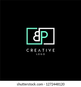 geometric square bp logo letter design concept in green and white colors
