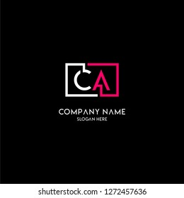 geometric square ca logo letter design concept in neon red and white colors