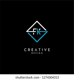 Geometric square fk logo letter design concept in blue and white colors