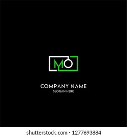 geometric square MO logo letter design concept in green and white colors