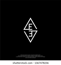 geometric square monogram EE logo letter in modern lines shape design concept