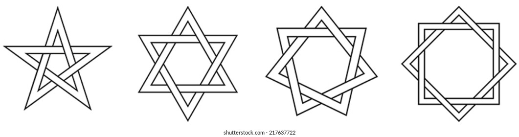Geometric Star Figures Outline - pentagram, hexagram, heptagram and octagram - self-intersecting star shaped figures with five, six, seven and eight sides.
