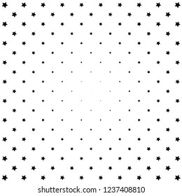 Geometric stars halftone background for comic book illustrations. Black and white colors.