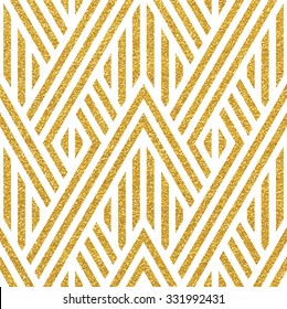 Geometric striped ornament. Vector gold seamless patterns. Modern stylish texture. Gold linear braids. Trendy gold glitter texture