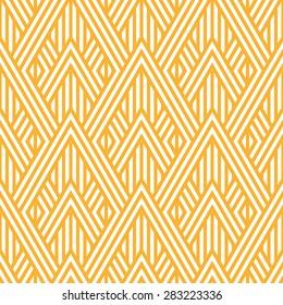Geometric striped ornament. Vector seamless pattern. Modern stylish texture. Yellow linear braids