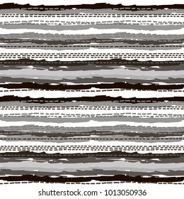 Geometric stripes lines pattern hand draw lines dots repeating. Sketches ornament stripe background. Vector geometric textures folk design for wrapping