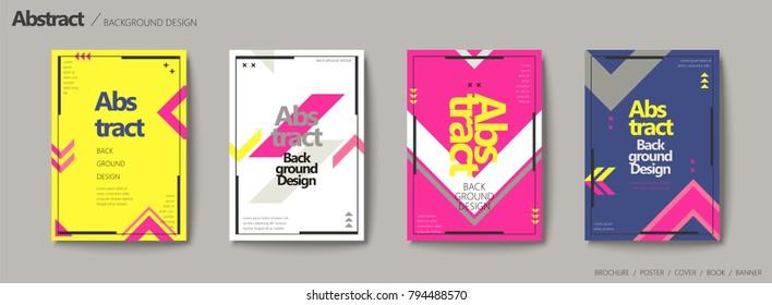 Geometric style brochure set, arrow elements in bright color design