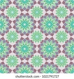 Geometric stylized succulent flower pattern in purple and green colors. Graphic floral background. Vector seamless repeat.