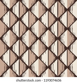 Geometric stylized wooden pattern with rhombus