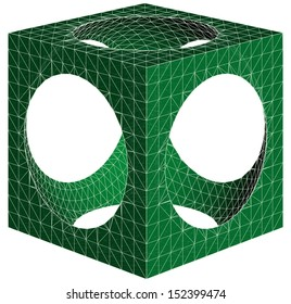 Geometric Subtraction Of Cube And Sphere Vector 17