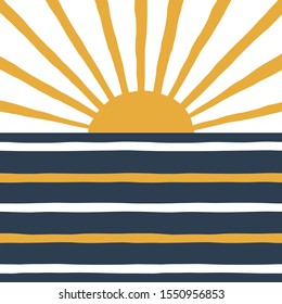 Geometric sunrise and sea simple illustration. Stripy navy blue and yellow solar print in vector. Simple abstract landscape background.