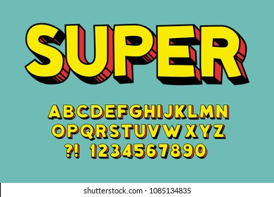Geometric super font 3d effect design letters and numbers Hand drawn style Vector alphabet