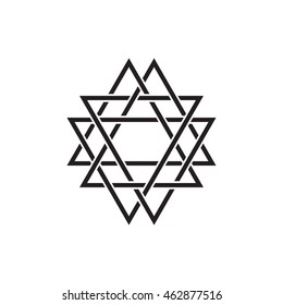 Geometric symbol, triangles. Vector element isolated on white
