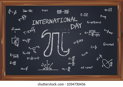 Geometric symbols on the school slate to the International Pi Day