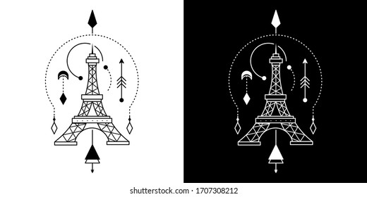 Geometric Tattoo Eiffel Monoline design