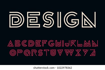 Geometric technology font Modern futuristic design letters and numbers Vector logo