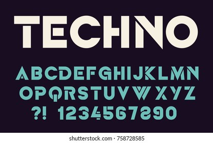 Geometric technology font Modern sport design Bold letters and numbers Vector abc