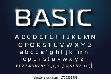 Geometric technology of the modern font design three-dimensional letters and numbers vector Alphabet
