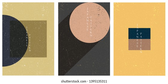 Geometric template in retro style. Circle background with Japanese pattern.