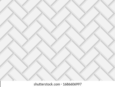 Geometric texture, repeating 3d brick abstract pattern vector. Diagonally laid bricks Scandinavian style brick background for kitchen splash back Herringbone pattern