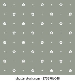 Geometric texture with a simple small sparce floral minimalistic print for design.Abstract white forget-me-nots flowers on gray monochrome background. Seamless vector pattern in neutral tones.