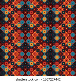 Geometric tile pattern with combinations of trending colors, best used for textile and wallpaper/wall covering industry